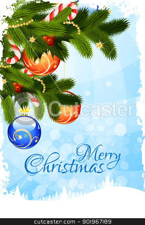 Grungy Christmas Card stock vector clipart, Grungy Christmas Card with Fir-Trees and Decoration by Vadym Nechyporenko