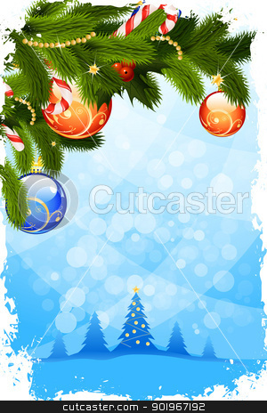 Christmas Card Template stock vector clipart, Grungy Christmas Card with Fir Tree and Decoration by Vadym Nechyporenko