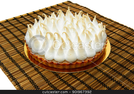 Lemon Meringue Pie stock photo, Delicious Lemon Meringue Pie. On a wooden mat. by lermannika