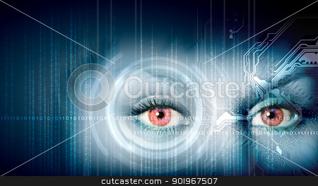 digital eye stock photo, Eye viewing digital information represented by ones and zeros by Sergey Nivens