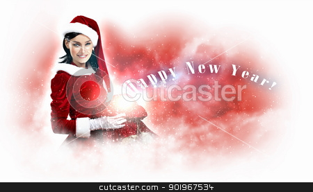 beautiful girl in santa costume stock photo, Christmas illlustration of beautiful girl in santa costume by Sergey Nivens