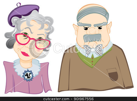 Grandparents stock vector clipart, Portrait of grandfather and grandmother on illustration by oxygen64