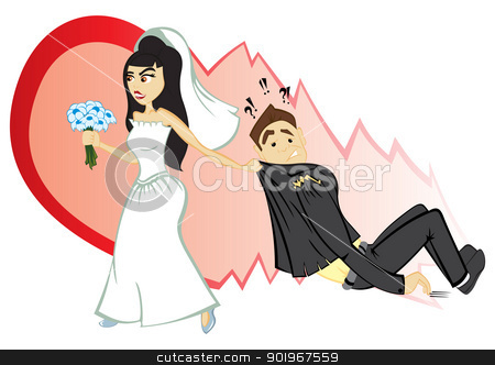 Wedding ceremony stock vector clipart, Bride convince groom to become marriage by Oxygen64