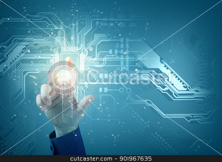 future technology. touch button inerface stock photo, future technology. touch button inerface illustration on blue background by Sergey Nivens
