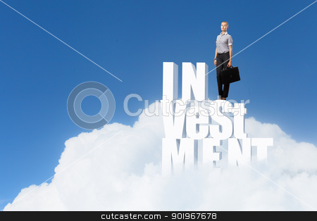 Financial success concept stock photo, Protecting a good investment and making money concept - businesswoman hands with word by Sergey Nivens