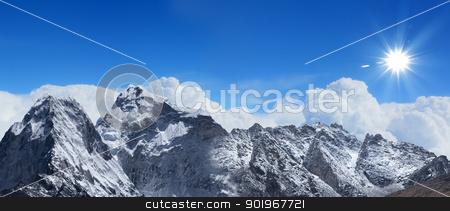 high mountains under snow stock photo, High mountains under snow in the winter by Sergey Nivens