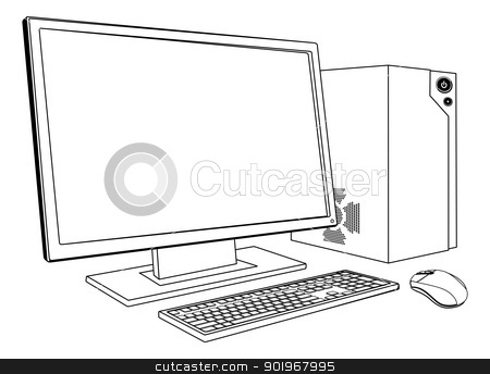 Desktop PC computer workstation stock vector clipart, A black and white illustration of desktop PC computer workstation. Monitor, mouse keyboard and tower by Christos Georghiou