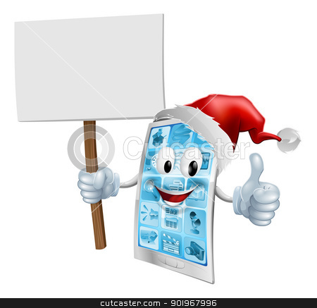 Christmas sign mobile phone stock vector clipart, A Christmas mobile phone mascot character wearing a Santa hat and holding a sign while giving a thumbs up  by Christos Georghiou