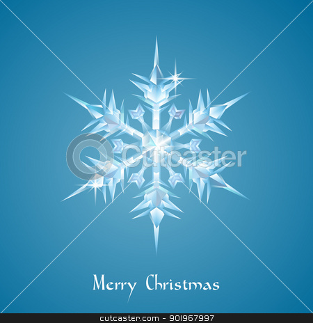 Christmas snowflake greeting stock vector clipart, A beautiful ornate transparent Christmas snowflake or glass Christmas decoration in the shape of a snowflake
