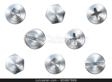 Screws and bolts stock vector clipart, A set of metal shiny screws and bolts for use in your designs by Christos Georghiou