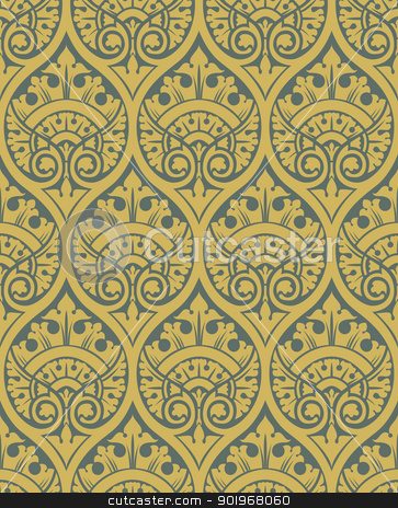 Classic seamless pattern stock vector clipart, Classic seamless patter yellow in editable vector file by paulrommer