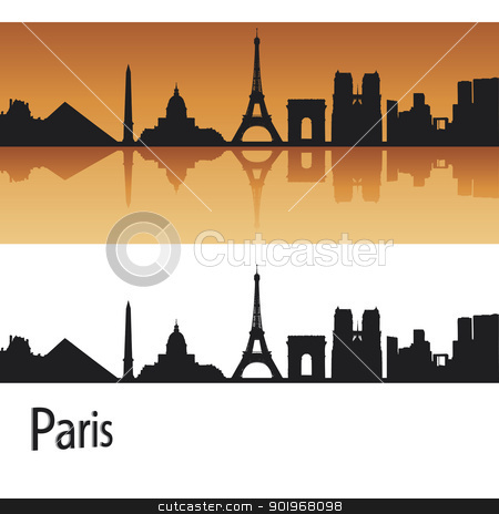 Paris skyline in orange background stock vector clipart, Paris skyline in orange background in editable vector file by paulrommer