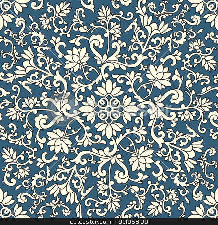Seamless pattern chinese stock vector clipart, Seamless pattern chinese and white elements in blue background by paulrommer