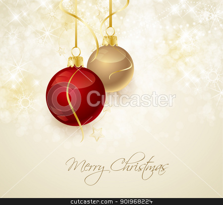 Christmas background stock vector clipart, Christmas background with stars and Christmas balls by Miroslava Hlavacova