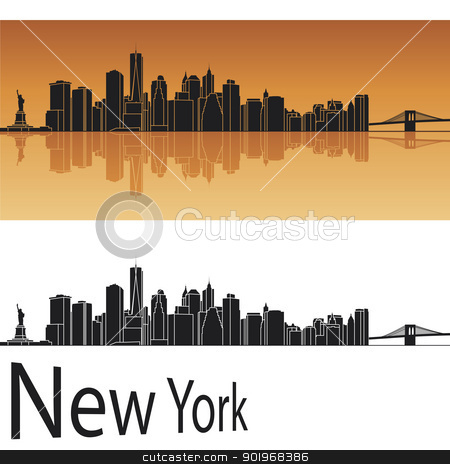 New York skyline in orange background stock vector clipart, New York skyline in orange background in editable vector file by paulrommer
