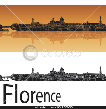 Florence skyline in orange background stock vector clipart, Florence skyline in orange background in editable vector file by paulrommer