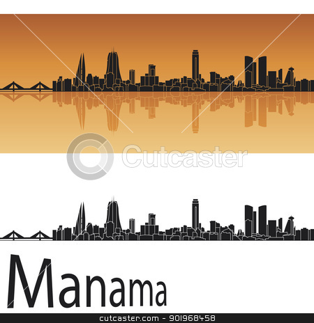 Manama skyline in orange background stock vector clipart, Manama skyline in orange background in editable vector file by paulrommer