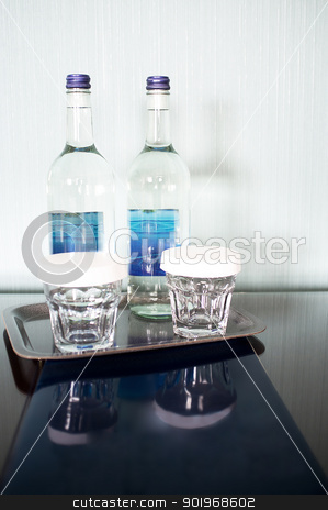 Still life with wine bottles and glasses stock photo, Still life with wine bottles and glasses. Its time to cherish by Ishay Botbol