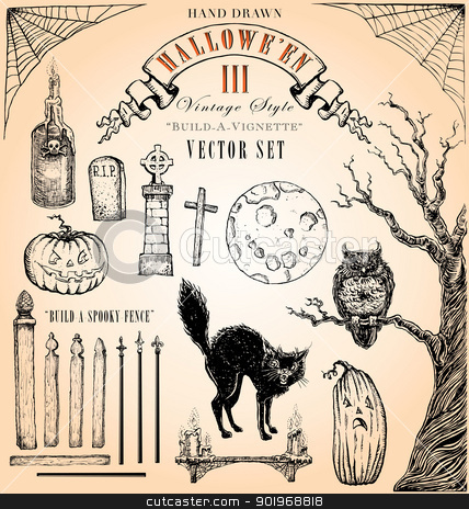 Vintage Style Halloween III Vector Set stock vector clipart, Hand-drawn, interchangeable elements to build-your-own spooky vignette. by ArtnerDluxe