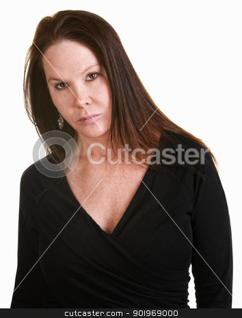 Serious Woman in Black stock photo, Serious European woman in black over white background by Scott Griessel