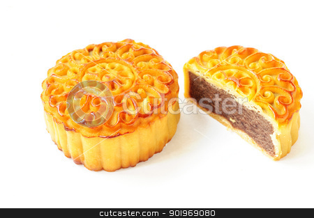 Moon cake stock photo, Moon cake on a white background by John Young