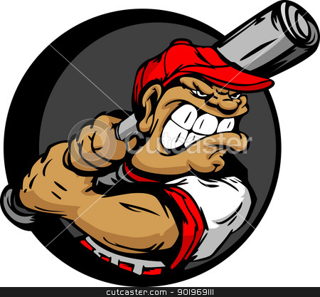 Tough Baseball Player Holding Baseball Bat stock vector clipart, Baseball Cartoon Batter with Bat Vector Illustration by chromaco