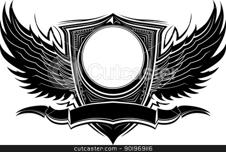 Ornate Badge with Wings and Banner Graphic Vector Template stock vector clipart, Ornate Wings and Badge Vector Illustration Template by chromaco