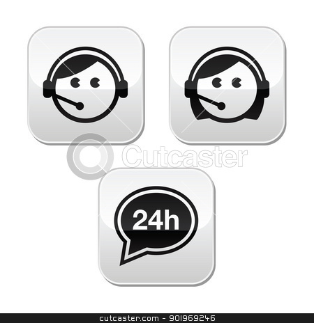 Customer service agents buttons set stock vector clipart, Customer support male and female, 24h service modern buttons set  by Agnieszka Bernacka