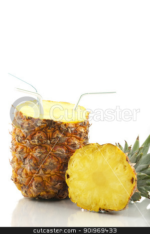 Fresh Pineapple Juice stock photo, Fruit isolated on white by Matthias Krapp