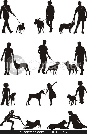 People and dog stock vector clipart, A dog - man's most faithful friend, illustrations of people and dogs by Vladim?
