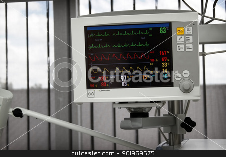 Medical equipment stock photo, Electrocardiography monitor (ECG) in working mode with heart beat lines on screen by vaximilian