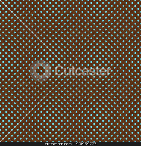 Seamless Aqua Dots on Brown stock photo, Slightly grungy aqua or turquoise polkadots on brown background by SongPixels