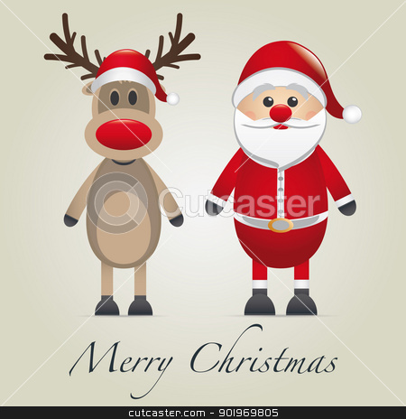 reindeer and santa claus stock photo, reindeer and santa claus merry christmas type by d3images