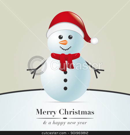 snowman with scarf and hat stock photo, snowman with scarf and santa claus hat by d3images
