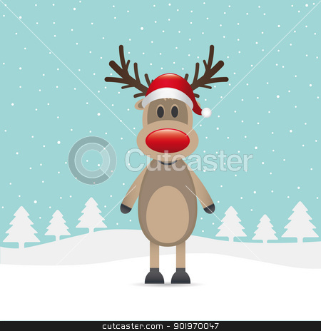 reindeer red nose stock photo, rudolph reindeer red nose santa claus hat by d3images