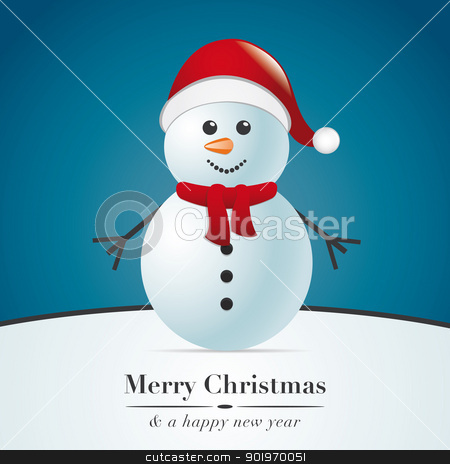 snowman with scarf stock photo, snowman with scarf and santa claus hat by d3images