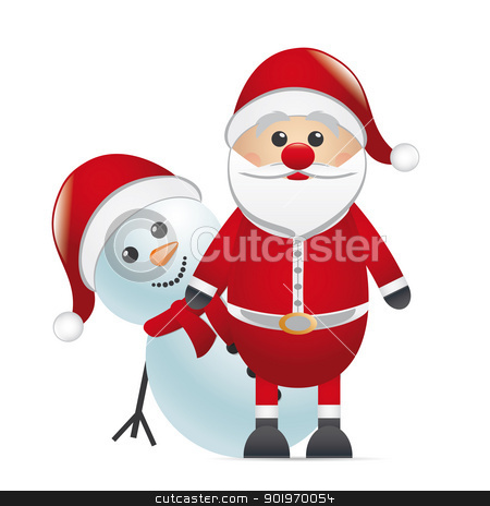 snowman red nose look santa claus stock photo, snowman behind red nose look santa claus by d3images