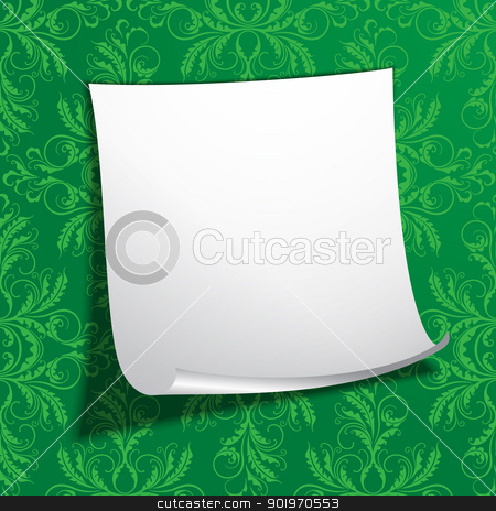 EPS10 vector illustration of white notepaper stock vector clipart, EPS10 vector illustration of white notepaper on the green wall by Allaya