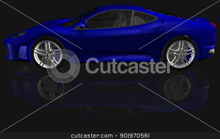 Sport car illustration stock photo, Sport blue car render illustration on black background by marphotography