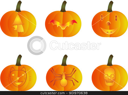 Halloween Pumpkins stock vector clipart, A Witch,Bat,Smiling Face,Cat,Spider and Skull Halloween Pumpkins by d40xboy