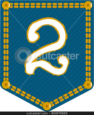 Denim Pocket 2 stock vector clipart, A denim pocket with the number 'two'. Part of a collection. by Kotto