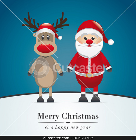 12_2_82-4 stock photo, reindeer red nose and santa claus hat by d3images