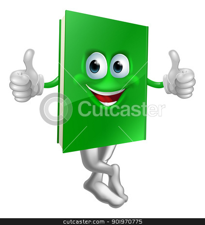 Cute thumbs up green book character stock vector clipart, Illustration of a cute smiling thumbs up green book character by Christos Georghiou