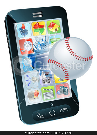 Baseball ball flying out of mobile phone stock vector clipart, Illustration of a baseball ball flying out of a broken mobile phone screen by Christos Georghiou