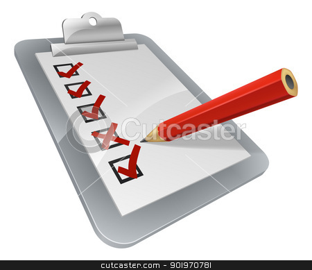 Clipboard survey stock vector clipart, A clipboard with pencil marking on it. A survey, opinion poll, or inspection document by Christos Georghiou
