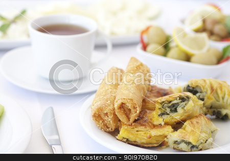 Pastries for morning stock photo, Breakfast with tea, olives and pastries by necati turker