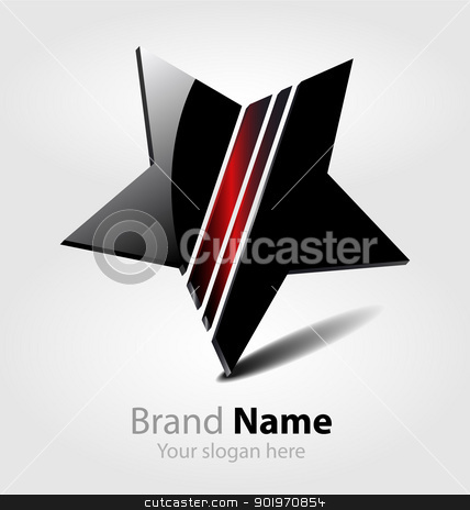 Brand black star logo stock vector clipart, Originally designed vector brand black star logo by Vladimir Repka