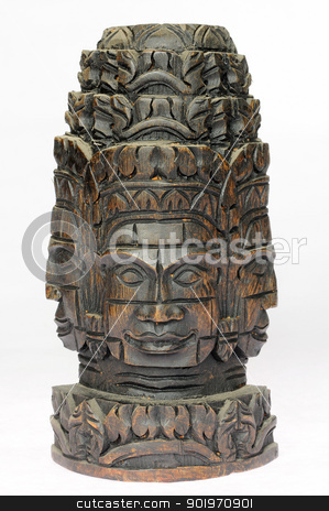 Wooden buddha at Angkor,Cambodia stock photo, Wooden buddha at Angkor Thom,Cambodia on a white background by John Young