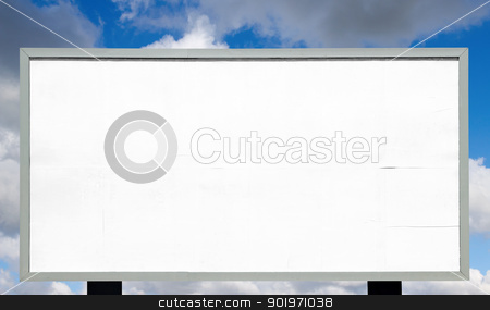Big blank advertising billboard stock photo, Big blank advertising billboard real white paper ready for text. by Stephen Rees