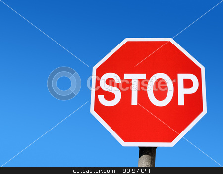 Red stop road sign and blue sky. stock photo, Red stop road sign and blue sky. by Stephen Rees
